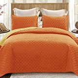 Exclusivo Mezcla Ultrasonic Reversible 3-Piece Queen Size Quilt Set with Pillow Shams, Lightweight Bedspread/Coverlet/Bed Cover - (Orange, 92'x88')