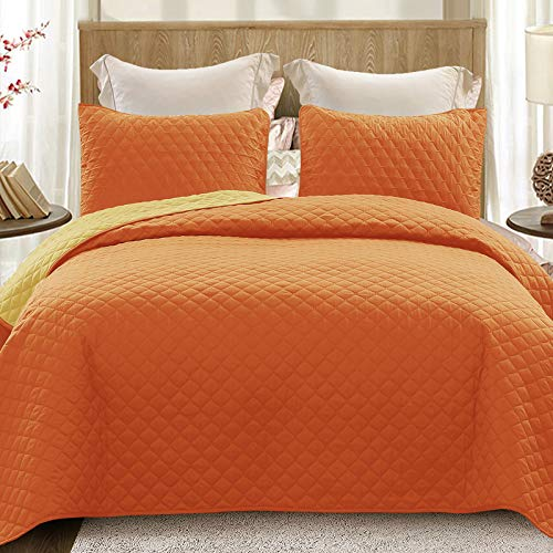 Exclusivo Mezcla Ultrasonic Reversible 2 Piece Twin Size Quilt Set with Pillow Sham, Lightweight Bedspread/ Coverlet/ Bed Cover - (Orange, 68'x88')