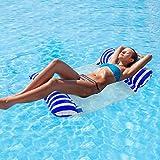 Cuskedye Hamaca inflable para piscina con malla inferior multiusos para silla de estar o tumbona, hamaca Drifter (azul)