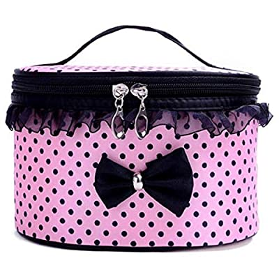 Qomomont Portable Cosmetic Bag Bow Lace Travel Toiletry Makeup Bag Zip Single Laye Organizer Holder Handbag Slots and Wide Elastic Strap On The Inner Side of The Lid (Pink) by