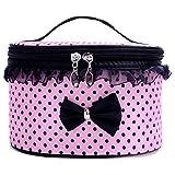 JSPOYOU Portable Travel Toiletry Makeup Cosmetic Bag Organizer Holder Handbag Pink