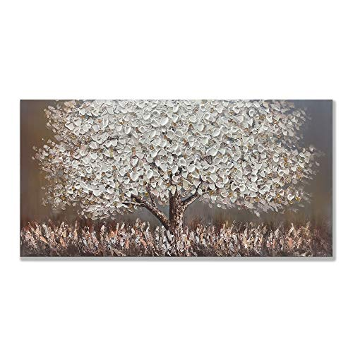 zoinart Painting, 24x48 inch Hand Painted Abstract Oil Paintings 3D Tree Artwork Modern Canvas Framed Wall Art Texture Palette Knife Paintings Home Decorations Wood Inside Wall Décor for Hanging
