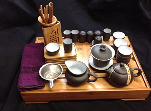 Large'Music City Tea' Yixing Tea Set, Black and White Zi Sha Gongfu Sets 29pcs #23