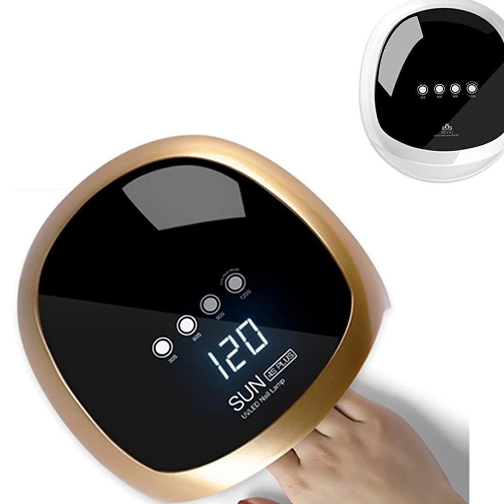 広がり下に向けますオーガニックジェルネイル UV LED ライト ネイル ネイルドライヤー 赤外線検知 4段階タイマー設定可能 手足兼用 (Gold)