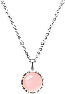 Halskette Kette Edelstein Natur Rosenquarz Kugel 6mm rosa Knotentechnik 60cm