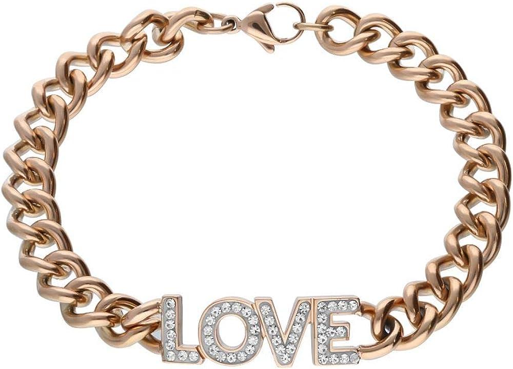 Stroili bracciale love per donna in  acciaio rosato con scritta centrale