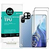 Ibywind [2 Piezas], Protector de Pantalla para Xiaomi Mi 11 5G/Mi 11 Pro 5G,con Metálico Protector de Lente de Cámara,Atrás Pegatina Protectora Fibra de Carbono,[Admite la función de Huella Digital]
