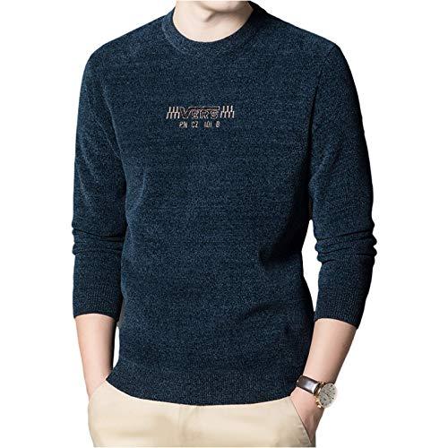 Luandge Suéter Estampado de Cuello Redondo para Hombre Espesar Calidez Moda clásica Sencillez Casual Jersey Regular Otoño e Invierno 4XL