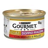 Purina Gourmet Gold Umido Gatto Doppio Piacere con Manzo e Pollo, 24 Lattine da 85 g Ciascuna, Confezione da 24 x 85 g