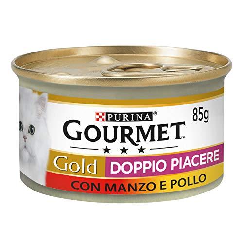 Purina Gourmet Gold Húmedo Gato Doble Placer con Ternera y Pollo, 24 latas de 85 g Cada una de Las 24 x 85 g