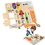 GJCrafts Tablero Montessori, Aprender Habilidades motoras Finas y Habilidades básicas para la Vida Tablero Ocupado para Niños Juguetes educativos preescolares Regalo para niño o niña