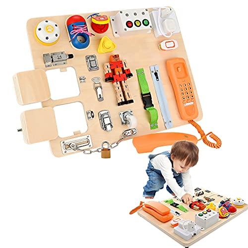 GJCrafts Busy Board Montessori per Imparare Le abilità motorie di Base e Le abilità di Base della Vita Giocattoli Educativi Montessori Busy Board Giochi Montessori Regalo per Ragazzo o Ragazza