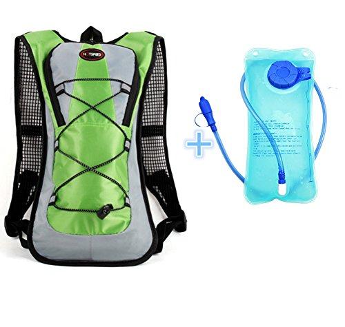 Monvecle Mochila de agua de hidratación con bolsa de agua de 2 litros, perfecta para correr, ciclismo, senderismo, escalada y esquí, color verde