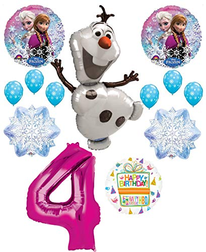 Mayflower Products Frozen 4th Birthday Party Supplies Olaf, Elsa and Anna Balloon Bouquet Decorations Pink #4