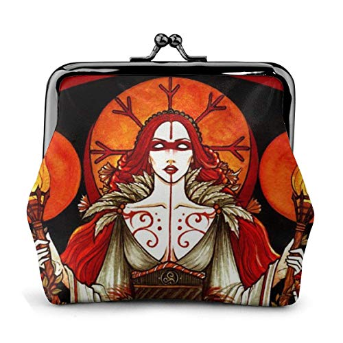 Trista Bauer Beltane Gift Wiccan Red Witch Flame Themed Vintage Pouch Girl Kiss-Lock Monedero Monedero Monederos Hebilla Monederos de Cuero Llavero Mujer Impreso Novedad Mini