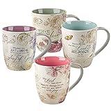Christian Art Gifts Ceramic Coffee/Tea Mug Set for Women   Vintage Botanic Floral Inspirations Design Bible Verse Mug Set   Boxed Set/4 Coffee Cups