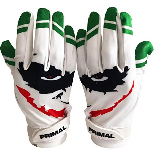 Primal Gloves Smiley Joker Football Receiver Gloves (White, X-Large)