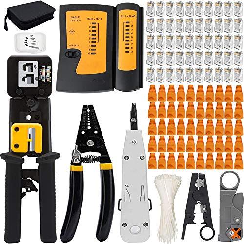 Mayline - Kit de herramientas de red profesionales, alicates crimpadora RJ45, pinzas...