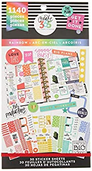 me & my BIG ideas Sticker Value Pack - The Happy Planner Scrapbooking Supplies - Rainbow Theme - Multi-Color & Gold Foil - Great for Projects Scrapbooks & Albums - 30 Sheets 1140 Stickers Total