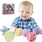 TWOYOMN Sensory Balls for Baby Massage Stress Relief, Textured Multi Baby Balls Gift Sets,Water Bath Toys, 6 Spikey Sensory Squeeze Ball for Kids Toddlers(6 Pack)