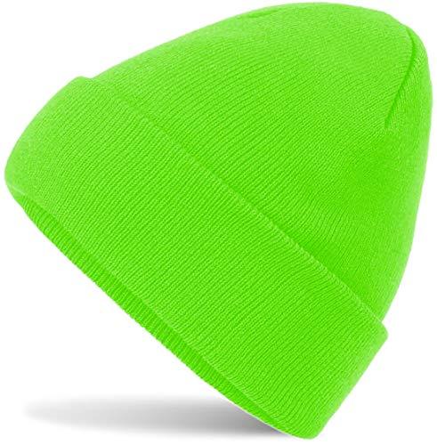Hatsatar Unisex warme Beanie Strickmütze | Wintermütze für Damen & Herren | Feinstrick Mütze doppelt gestrickt | warm & weich (neon grün)
