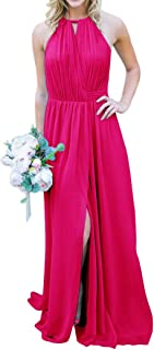Jonlyc A-Line Halter Chiffon Long Wrap Bridesmaid Dresses with Slit