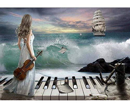 WACYDSD Puzzle 1000 Piezas Musica Chica Junto Al Mar DIY Arte De La Pared Moderna Decoración para El Hogar