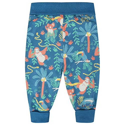Piccalilly Pantalon de pull-up en jersey doux en coton biologique sans produits chimiques Motif animaux en danger Bleu - Bleu - 18-24 mois