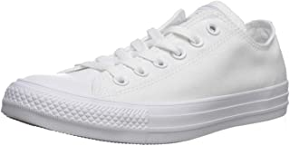 Converse Chuck Taylor Low Top Unisex Sneakers, White Monochrome