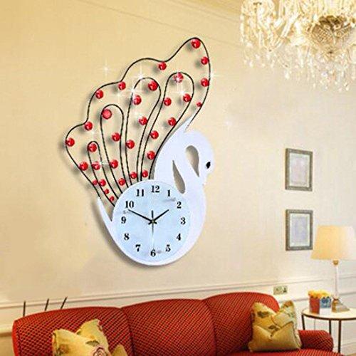 WERLM Swan creatieve wandklokken persoonlijkheid modieuze moderne mute slaapkamer kwarts klokken wandklokken ideaal voor elke soort kamer in de familie eetkamer keuken kantoor school, B