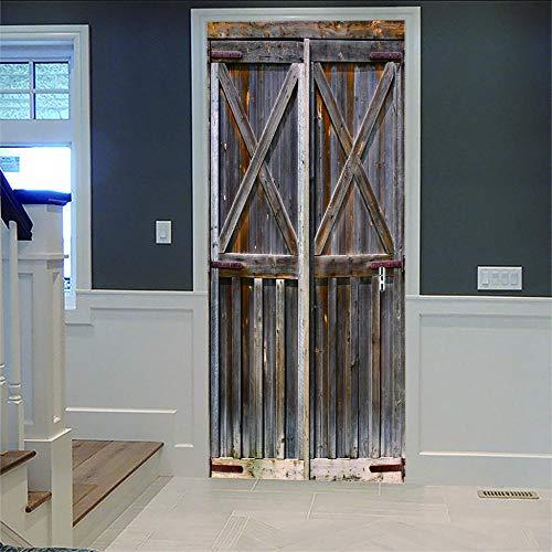 Kreativität 3D Tür Aufkleber Schäbige Holztür Für Innentür Bürotür Wasserdicht Abnehmbare Selbstklebende Zimmertür Dekoration