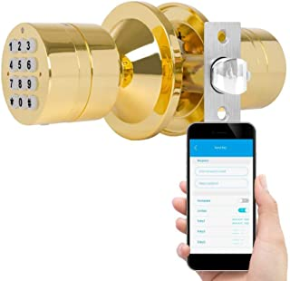 TurboLock TL-99 Bluetooth Smart Lock for Keyless Entry & Live Monitoring – Send & Delete eKeys w/App on Demand (Polished Brass)