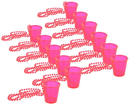 com-four® 12x Schnapsgläser mit Kette zum Umhängen - Zubehör für Junggesellenabschied - Shotglas für Karneval, Fasching, JGA etc - 50 ml (12 Stück - pink)