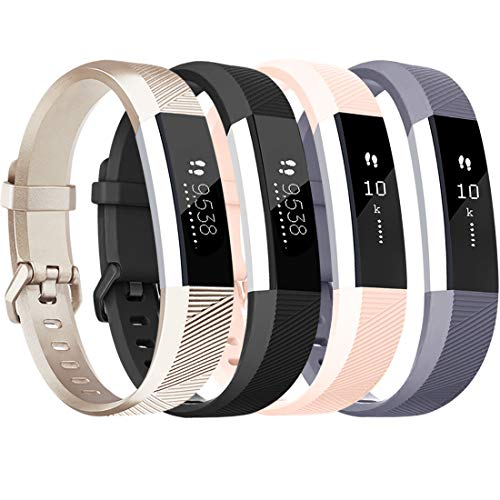 Tobfit für Fitbit Alta HR Armband, Verstellbare Ersatz Weich Sport Armband für Fitbit Alta HR und Fitbit Alta (4-Pack Schwarz+Blau+Grau+Weiß, S)