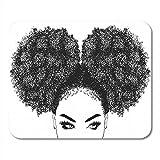 Alfombrillas de ratón Marrón Afro Mujer negra Cabello rizado Niña Afroamericana Bonita alfombrilla de ratón para portátiles, computadoras de escritorio Accesorios Mini suministros de oficina Alfombril