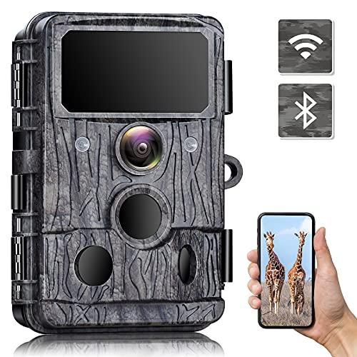 WLAN Wildkamera - 30MP Wildkamera 4K Native mit 940nm No-Glow-IR-LEDs Nachtsicht WLAN Wildkamera Bewegungsaktivierte Bluetooth Wildtierkamera Wasserdicht IP66 für Gärten Wildbeobachtung