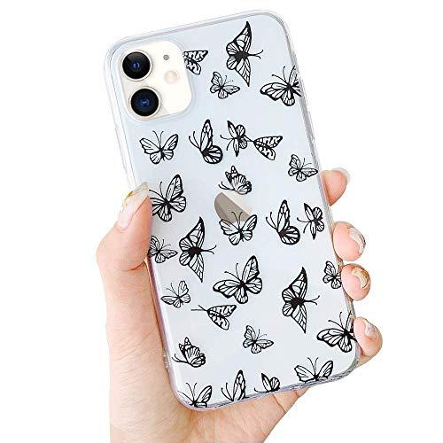 Capa Borboleta LCHULLE para iPhone 7 Plus iPhone 8 Plus Capa moderna bonita design de borboleta vazada para meninas e mulheres Capa protetora à prova de choque de TPU (poliuretano termoplástico) macio transparente para iPhone 7 Plus/8 Plus, preta