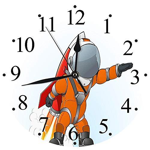 Yaoni Silencioso Wall Clock Decoración de hogar de Reloj de Redondo,Fantasía, Hombre Astronauta yendo al Espacio con Cohete galáctico Viaje Ciencia ilustración,para Hogar, Sala de Estar, el Aula