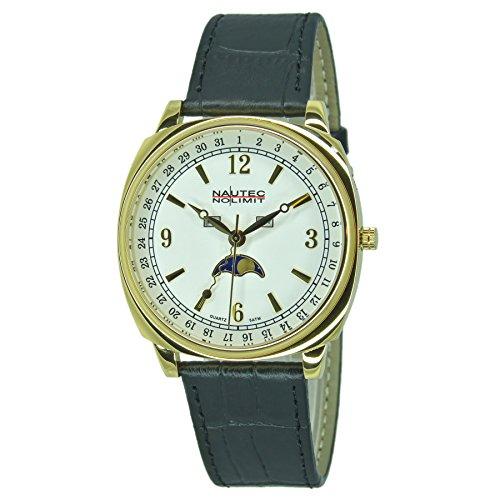 Nautec No Limit Unisex Erwachsene Mondphase Quarz Uhr mit Leder Armband 126142