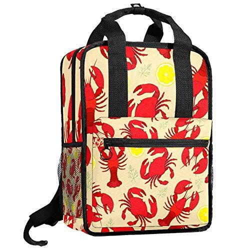 Mochila de viaje para ordenador o estudiante, bolso de mano, informal, regalo para hombres y mujeres, cangrejo de langosta con eneldo de limón