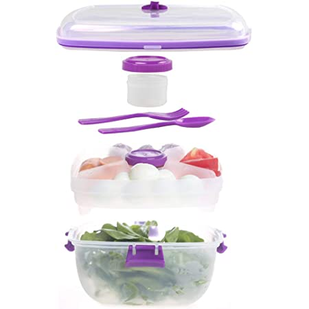 Shopwithgreen 52 OZ Salad Container To Go for Lunch, 4-Compartment for Salad Toppings and Snacks, with Dressing Container, and Built-In Spoon and Fork, Leak-Proof, BPA-Free , Microwave and Dishwasher