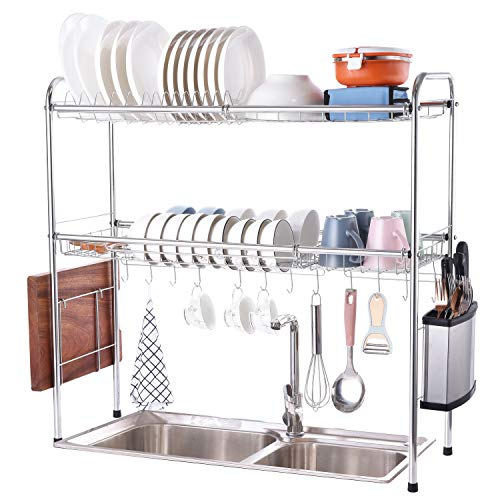 1208S 304 Stainless Steel Over Sink Drying Rack Dish Drainer Rack&Kitchen Organizer Save Counter Space (Double Groove-Double-layer)