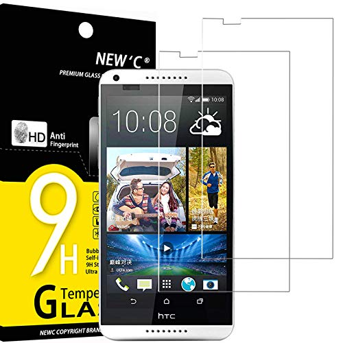 NEW'C 2 Stück, Schutzfolie Panzerglas für HTC Desire 816, Frei von Kratzern, 9H Festigkeit, HD Bildschirmschutzfolie, 0.33mm Ultra-klar, Ultrawiderstandsfähig