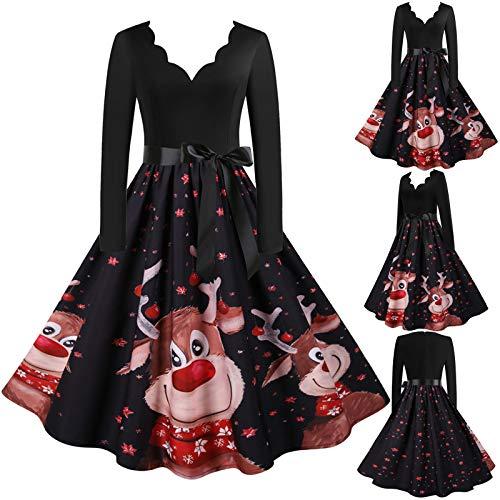 Zegeey Damen Weihnachten Kleider Langarm Weihnachtskleid Vintage Hepburn Cocktailkleid Weihnachten Kleid Stylisch Eleganten Cocktailkleid