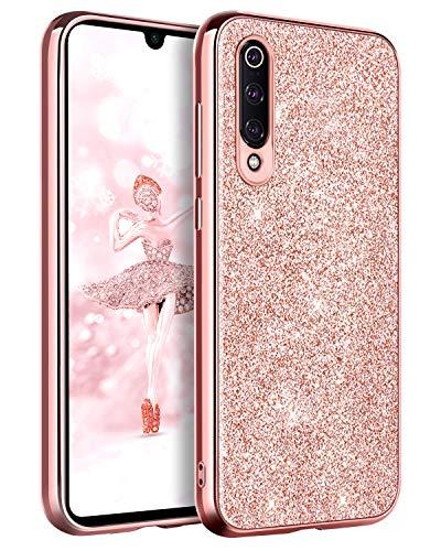 BENTOBEN Funda Xiaomi Mi 9, Funda Xiaomi 9, Purpurina Carcasa Ultra Delgada Cover Brillante Resistente Suave Silicona PC Protectora a Prueba de Golpes Fundas para Xiaomi Mi 9 6.39'', Oro Rosa
