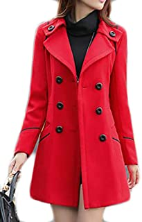 8d45d93f034 JWK Women s Double-Breasted Slim Solid Wool-Blend Winter Pea Coats