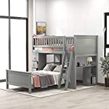 Solid Wood Bunk Bed, Twin Over Twin Bunk Bed with Drawers and Shelves. (Gray)