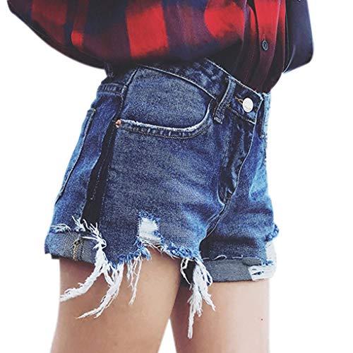 Adelina Damesbroek, modieus, gebreid met hoge tailleband, elegante jeansshort en modieus, voor meisjes, zomerbroek, button zakjes, denim slim short jeans