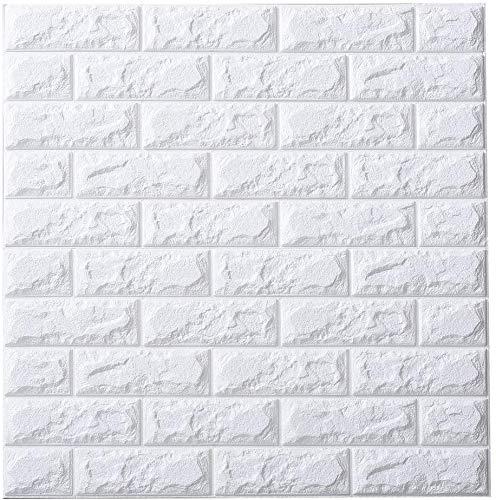 20 Pcs Carta da Parati Mattoni Bianco 3d, YTAT 3D Brick Wallpaper Stickers, Carta da Parati Adesiva, Stickers Muro 3d, Carta da Parati per Cucina, Bagno, Soggiorno, Salone, Ufficio, TV Sfondo