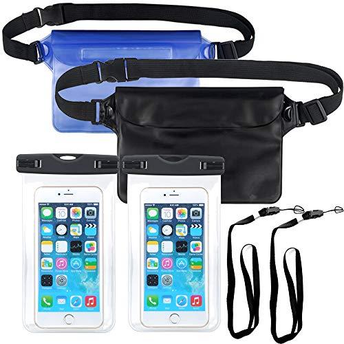 Wasserdichter Etui Dry Bag 4 Set Versiegelter Unterwassertasche mit abnehmbarem Lanyard und Hüftgürtel Leichtgewicht zum Schwimmen Kajakfahren Tauchen Schnorcheln
